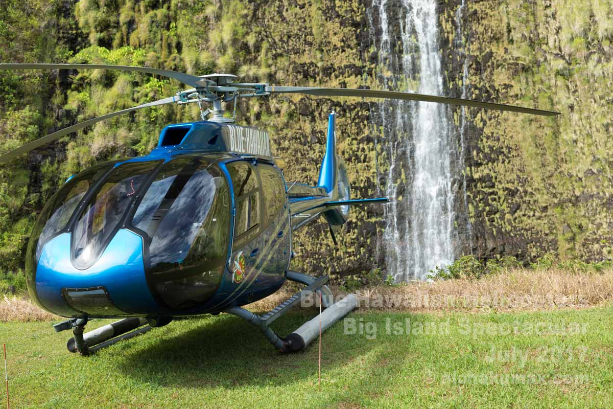 ヘリコプターとプナルル滝