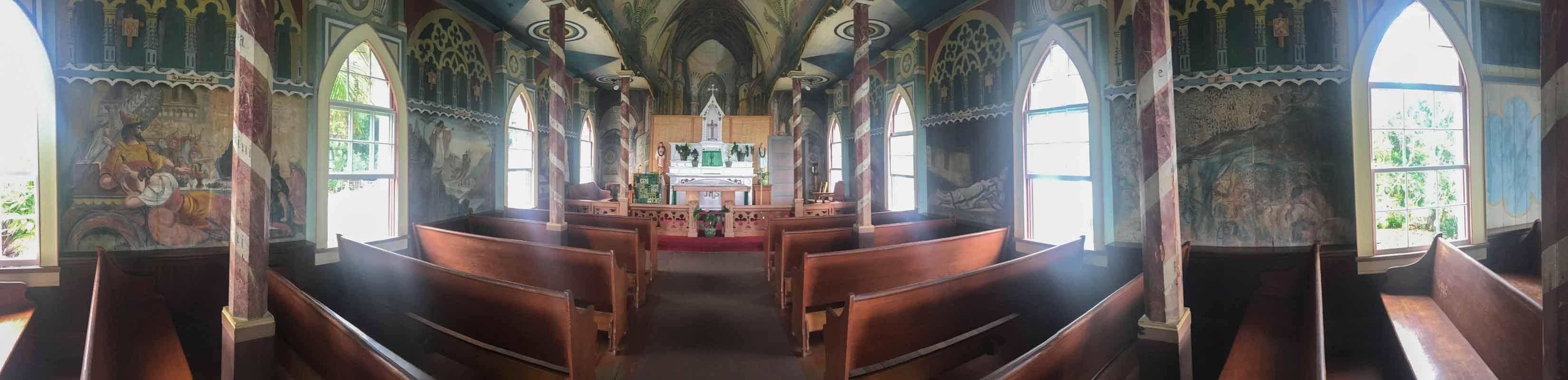 ペインテッドチャーチの聖堂内 180のパノラマビュー