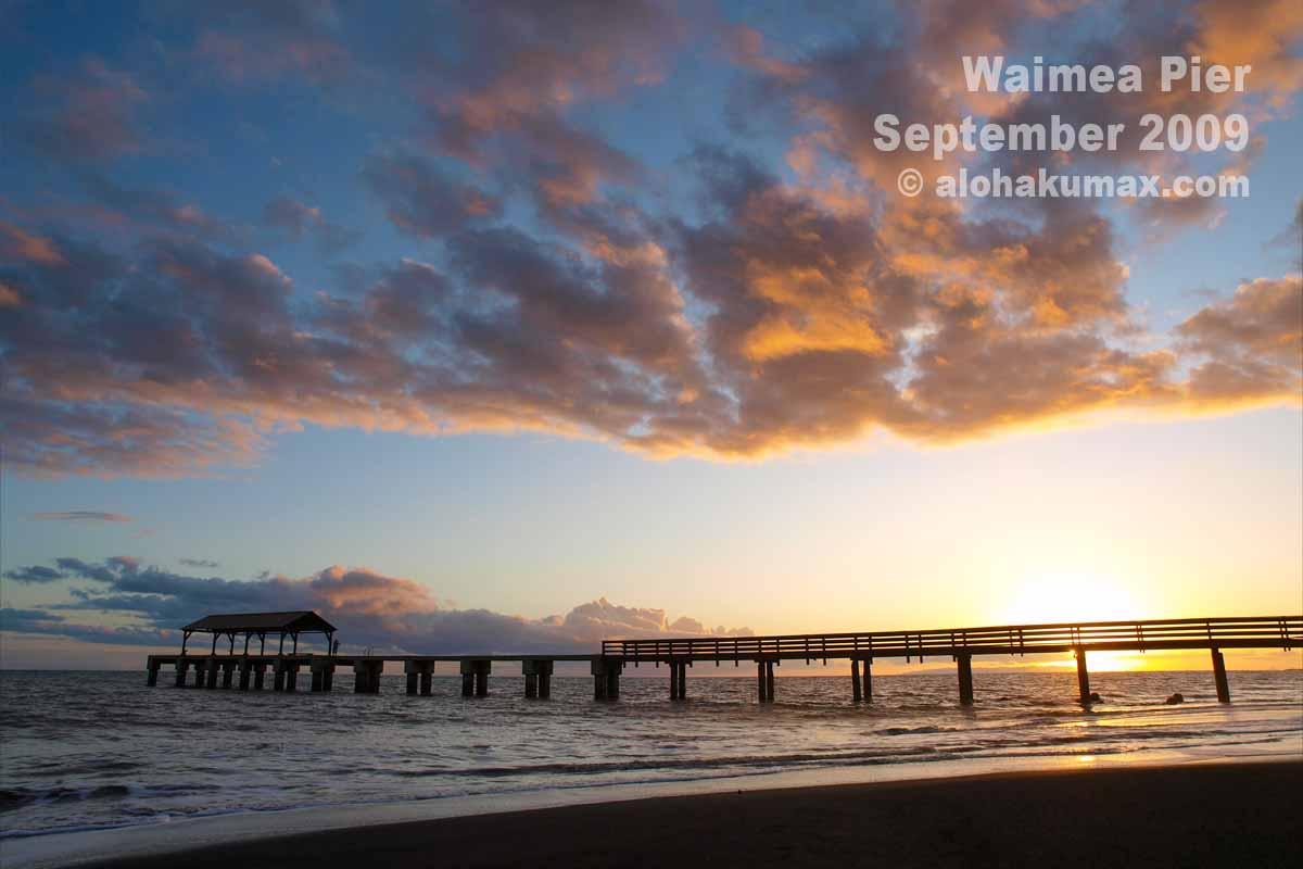夕陽に浮かぶ桟橋