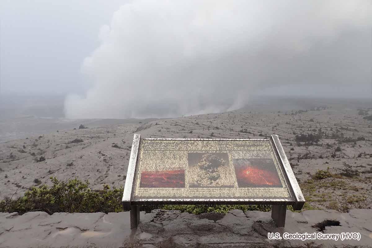 爆発後のジャガーミュージアム展望台(2018年5月17日)