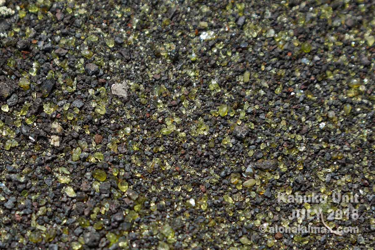 トレイルに散らばっているカンラン石