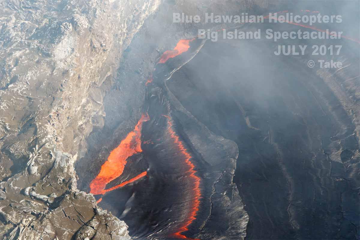 プウオオ火口の溶岩湖(2017年7月)