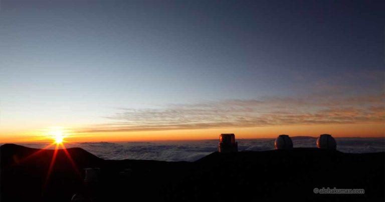 マウナケア山頂の夕陽