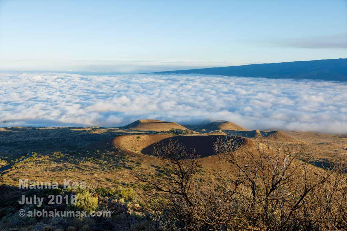 雲海と噴石丘とマウナロア