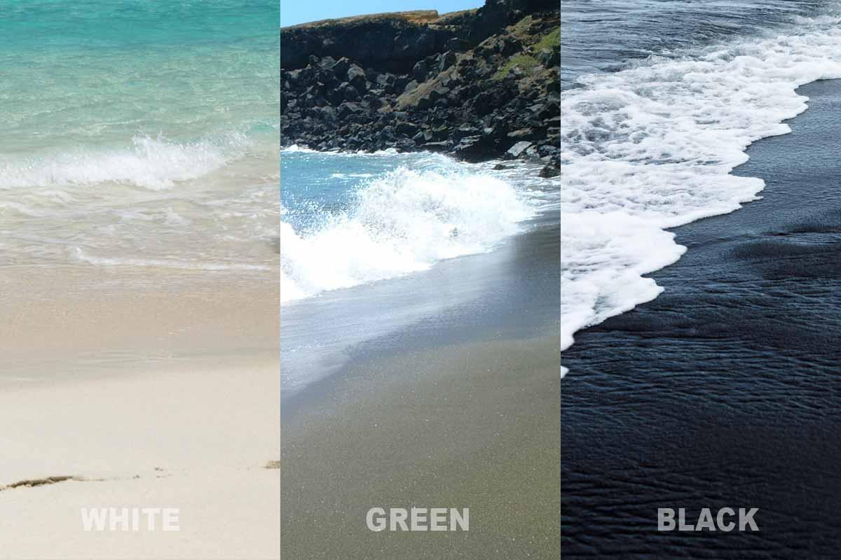 白・緑・黒の3色の砂