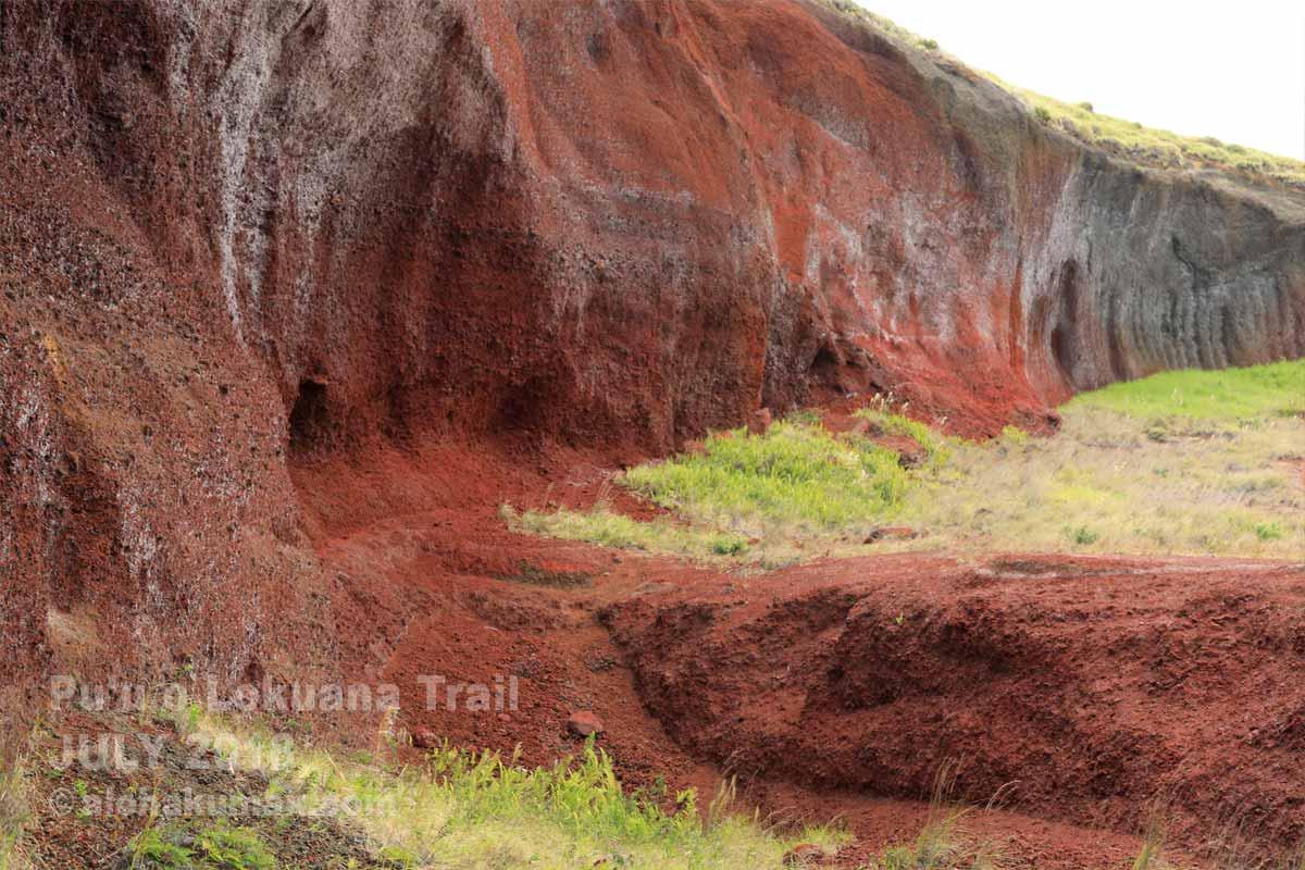 スコリア丘の赤い断面