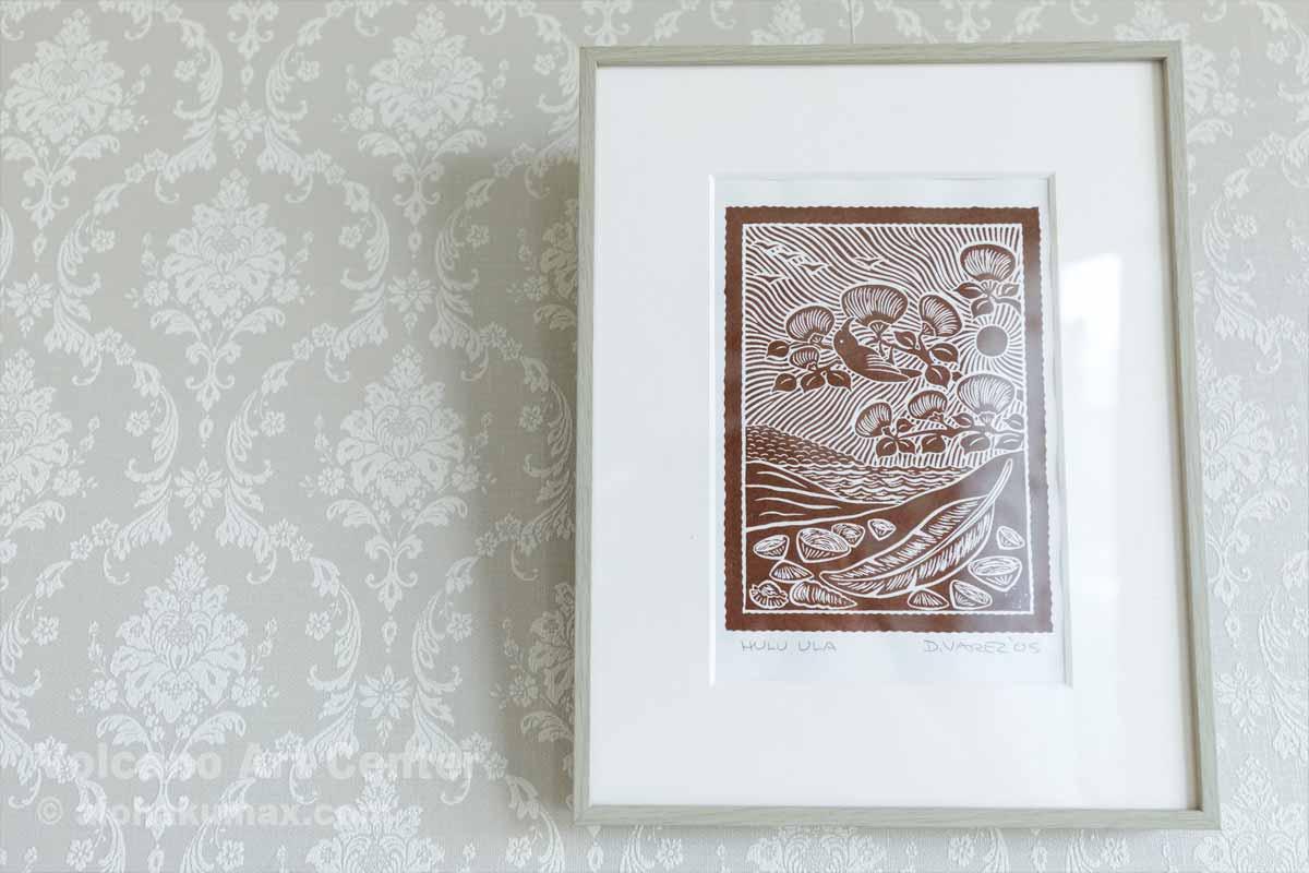 ミツスイとオヒアの絵の版画(額は日本で購入)
